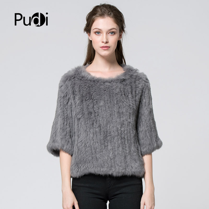 CR004 New Pullover Women Real Rabbit Fur Knitted Coat Jacket Vests Wraps Smock Overall 11 Colors Black Beige