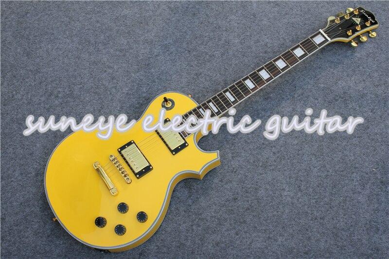 Suneye jaune finition brillante guitare électrique personnalisée Kit de corps de guitare en acajou massif Kit de guitare gaucher personnalisé disponible