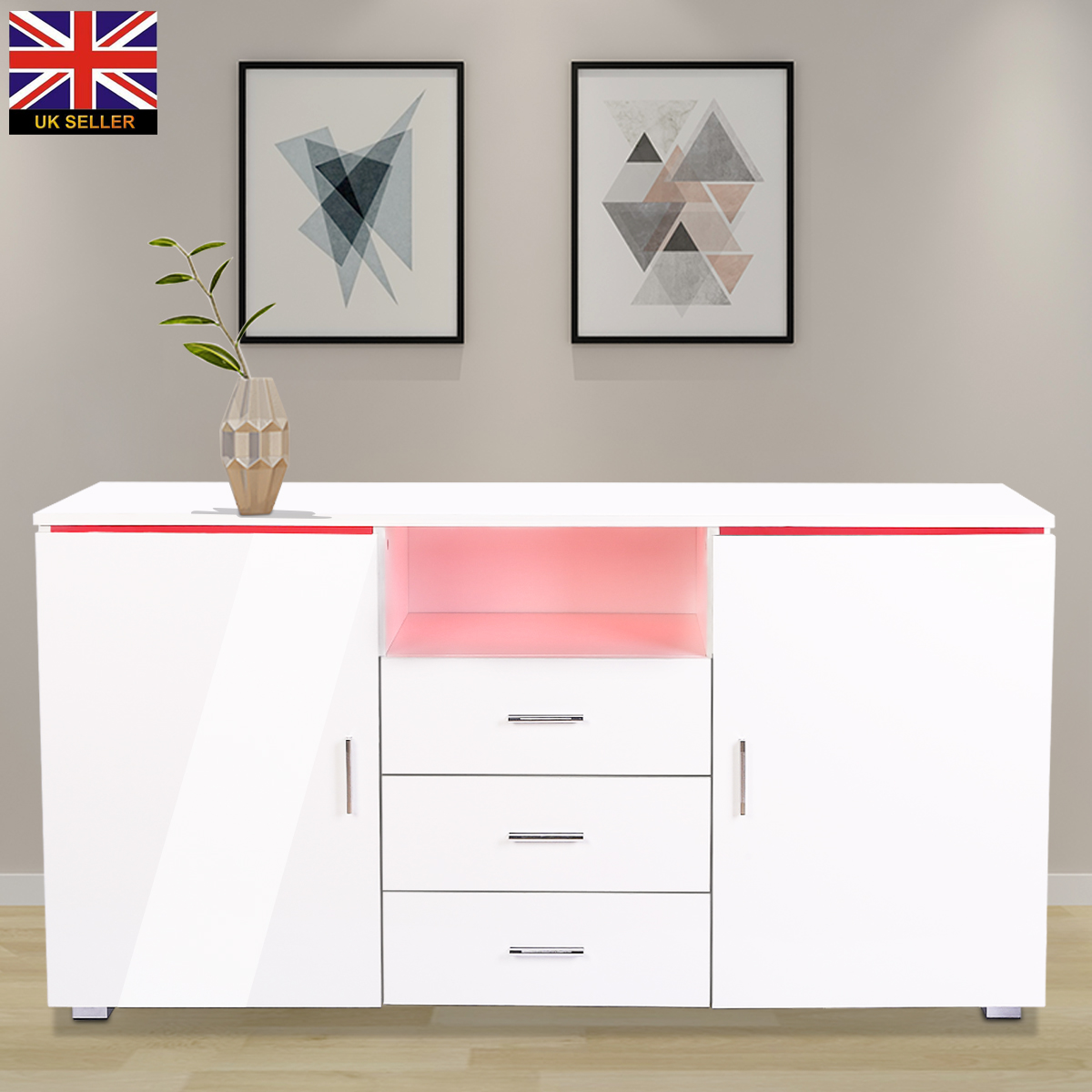 Living Room Cabinets MDF+Particle Board Modern Bedside Storage Cabinet Multifunctional Cabinet With LED Ligth 139 X 35 X 72cm