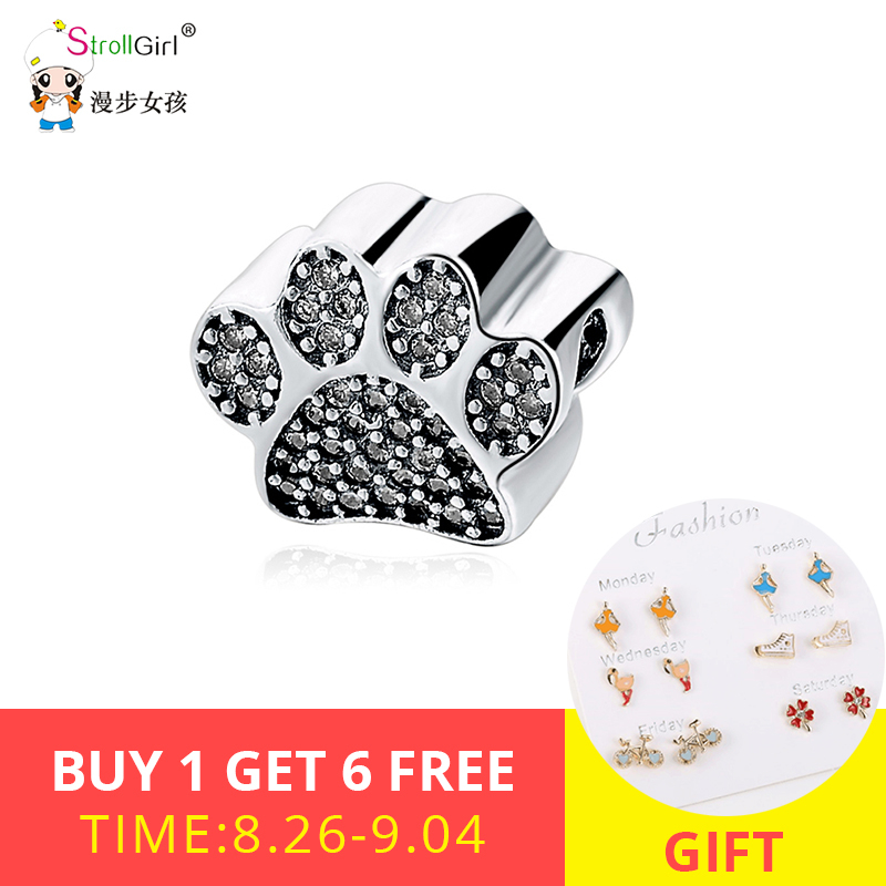 Strollgirl 925 sterling silver animal dog Footprint pendant charm CZ paw beads fit Pandora