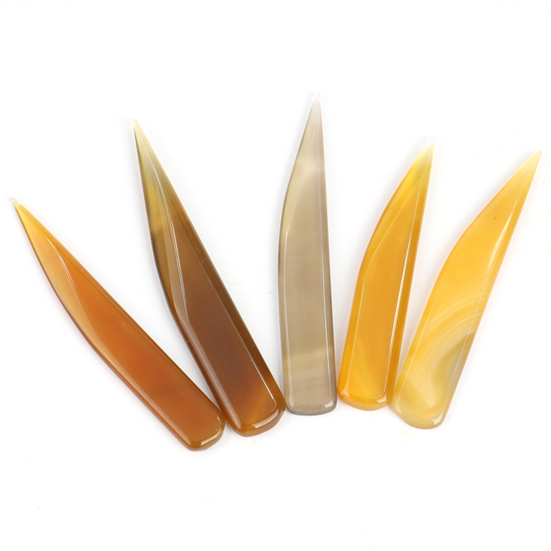 Natural Agate To Rub Leather Edge For Scoring Folding Creasing Paper Leathercrafts DIY Handmade Leather Tool Accessory