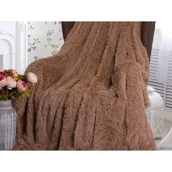 Покрывало плед меховой двухсторонний травка 100% натуральный бамбук роскошный мех уютный дом кровать кресло диван недорого