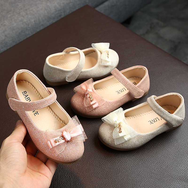 Girls Party Shoes Gold Pink Princess Shoes Bright Leather Little Girls Shoes For Kids Children Single Shoes