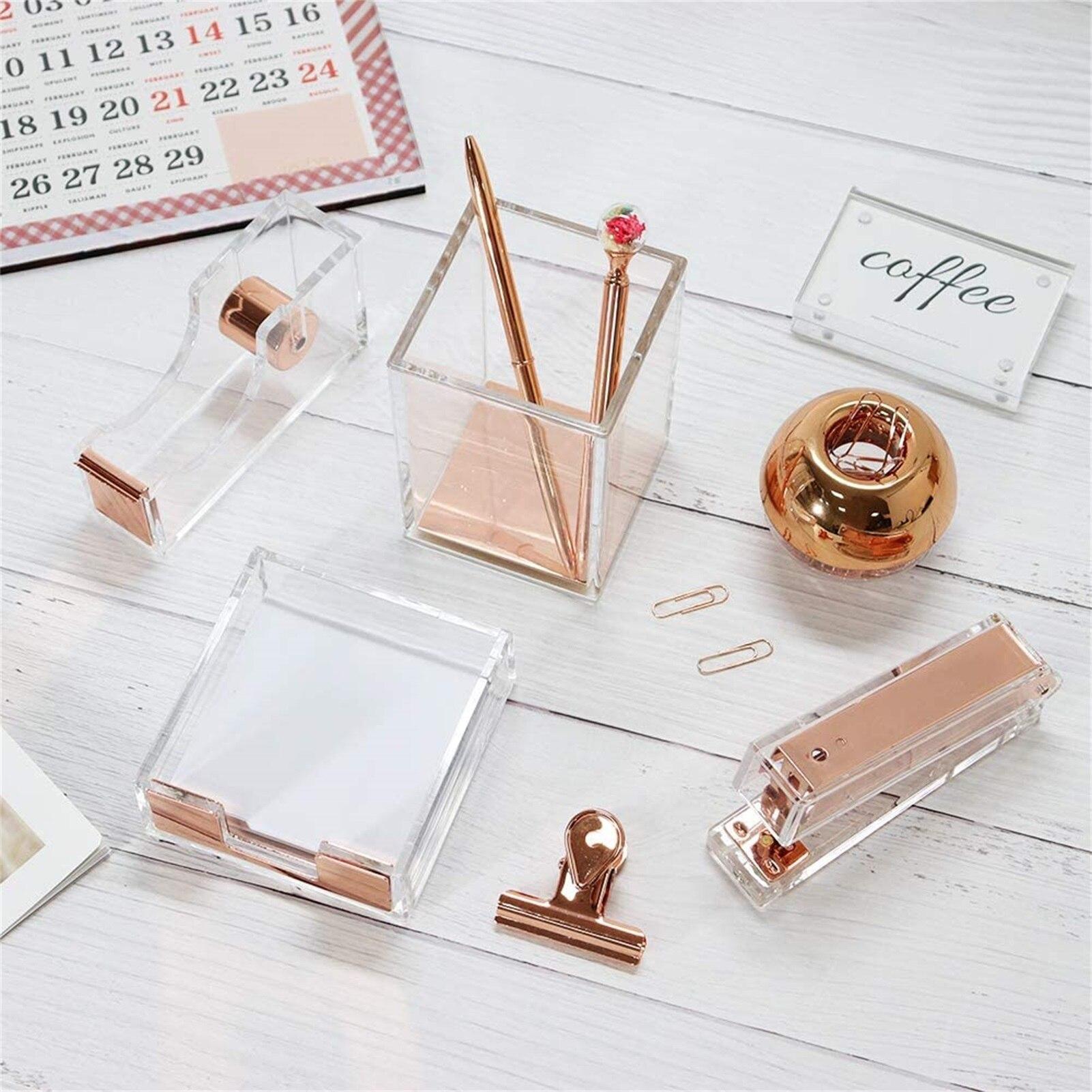 5pcs Rose Gold Acrylic Desk Stationery Series Stapler Tape Dispenser Sticky Note Pads Tray Pen Holder Paper Clips Dispenser