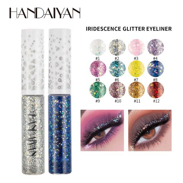 Handaiyan elmas glitter eyeliner krem parlak gevreği altın gümüş pırıltılı renk uzun ömürlü su geçirmez eyeliner jel HF168