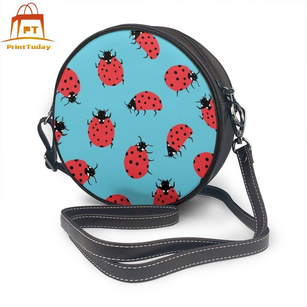 Lady Bug Shoulder Bag Lady Bug Leather Bag Women Trendy Women Bags Slim Pattern Teen Multi Pocket Round Purse