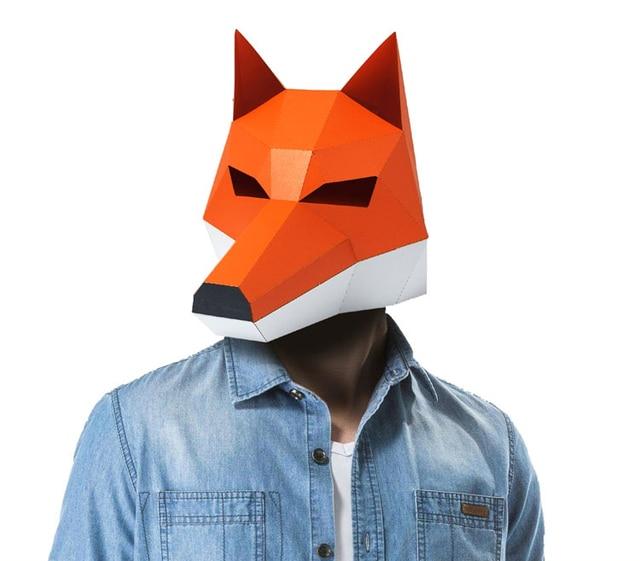 3D Cut Free Paper Mask Fox Animal Halloween Christmas Costume Cosplay DIY Paper Craft Model Kit 4