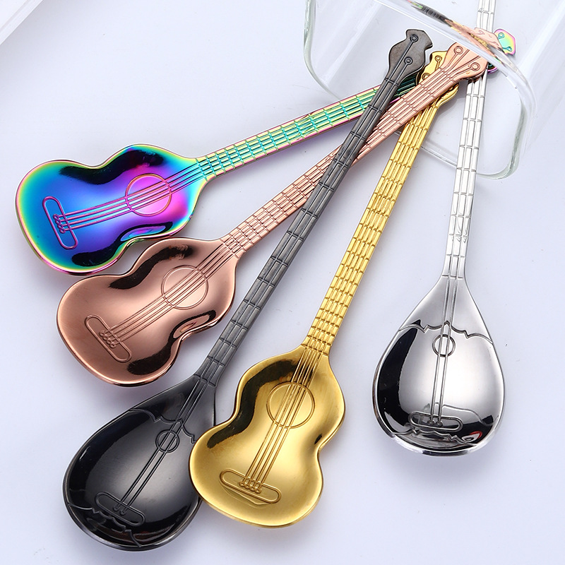 Creative Guitar Coffee Spoon Set Stainless Steel Dessert Ice Cream Spoon Tea Spoon Coffee Accessories Flatware Drinking Tools