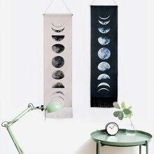 Черно-белый настенный гобелен, многофункциональный гобелен, девять циклов роста Луны, спящие ленты, украшение для дома