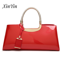 New sequined patent leather tote trendy party bag evening bags women's fashion shoulder bag simple solid color high quality цена в Москве и Питере
