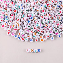 100-500pcs Mixed Acrylic Letter Beads For Bracelets Flat Alphabet Spacer Beads For Jewelry Making Handmade Diy Bracelet Necklace