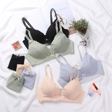Fashion Sexy Smooth No Trace One-piece Steel Ring Bra Set Bow Pearl Briefs Two-piece
