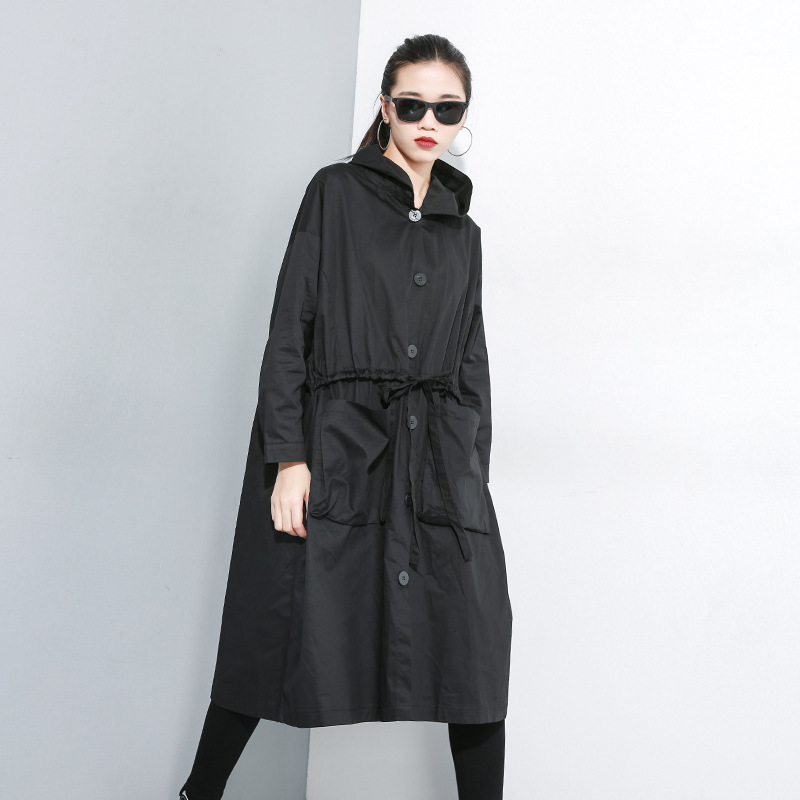 Dark Plus Size Black   Trench   for Women Tide Long Print Streetwear Hoodie Casual Female Wide Waisted Coat 2019 Autumn New SA047S30