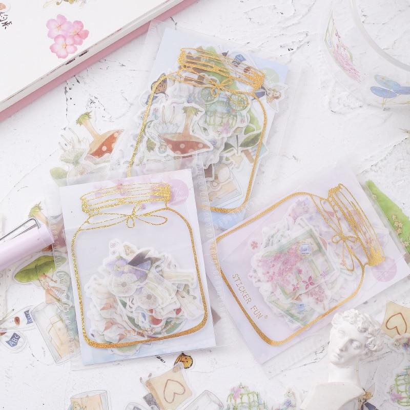 Rabbit Cat Gilding Decorative Stationery Stickers Scrapbooking DIY Diary Album Stick