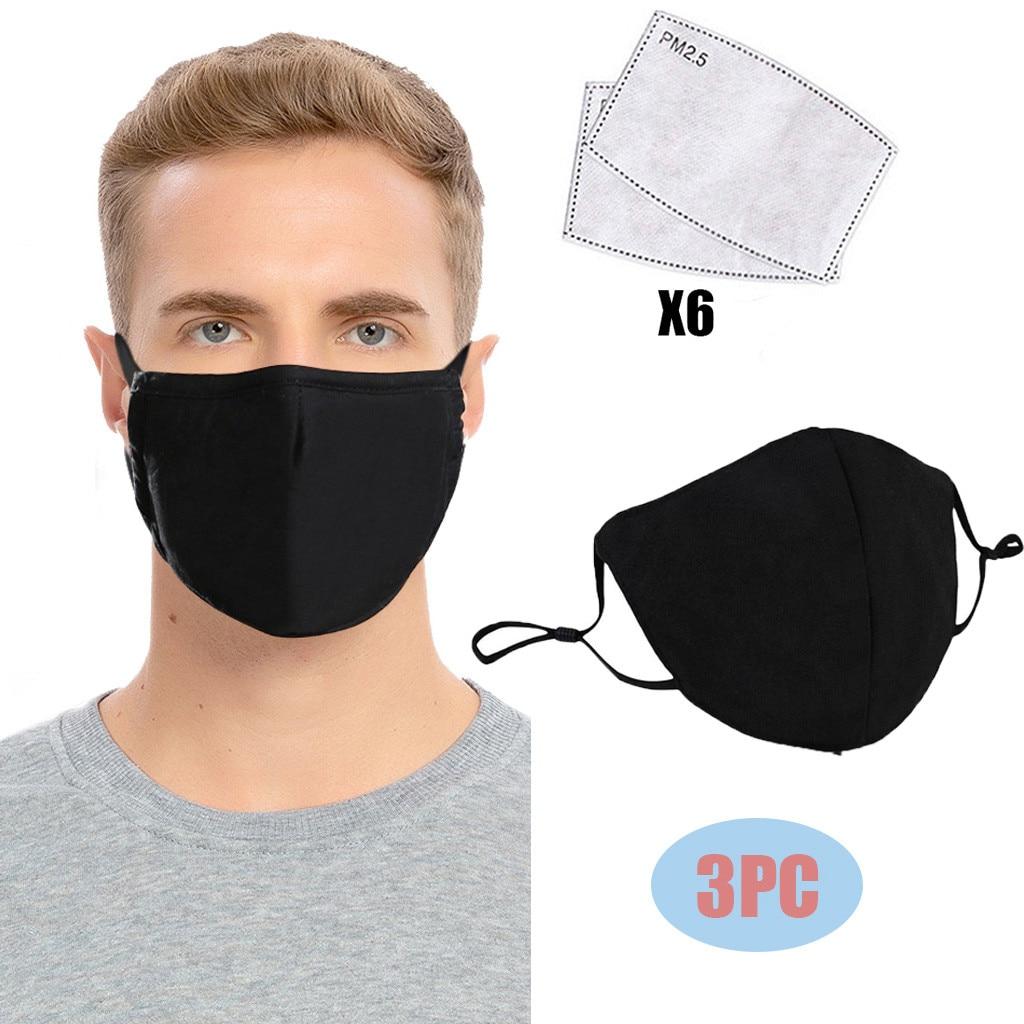 3 шт. многоразовые черная маска для лица с 6pcs фильтр из активированного угля Для женщин мужчин Регулируемая ветрозащитная защитный лицевой ...