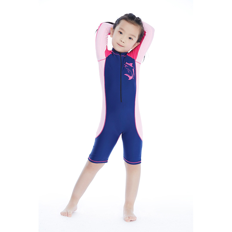 New Style Children Athletic Sports Casual Bathing Suit-Style Mixed Colors One-piece Long Sleeve Shorts Zipper Girls Swimwear