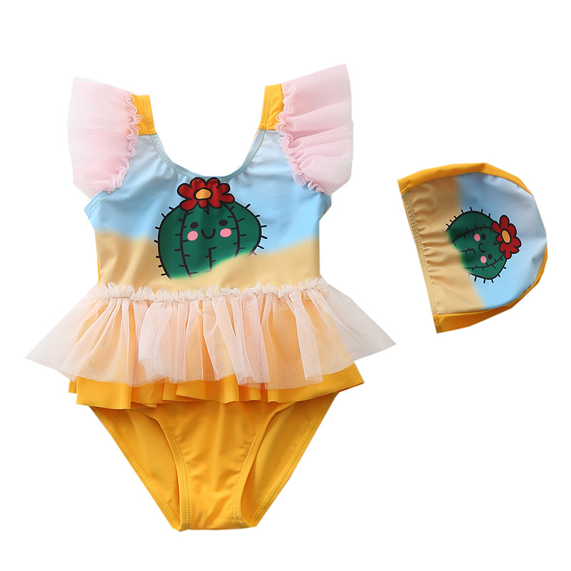 Детский купальный костюм koala с принтом кактуса Цельный купальник