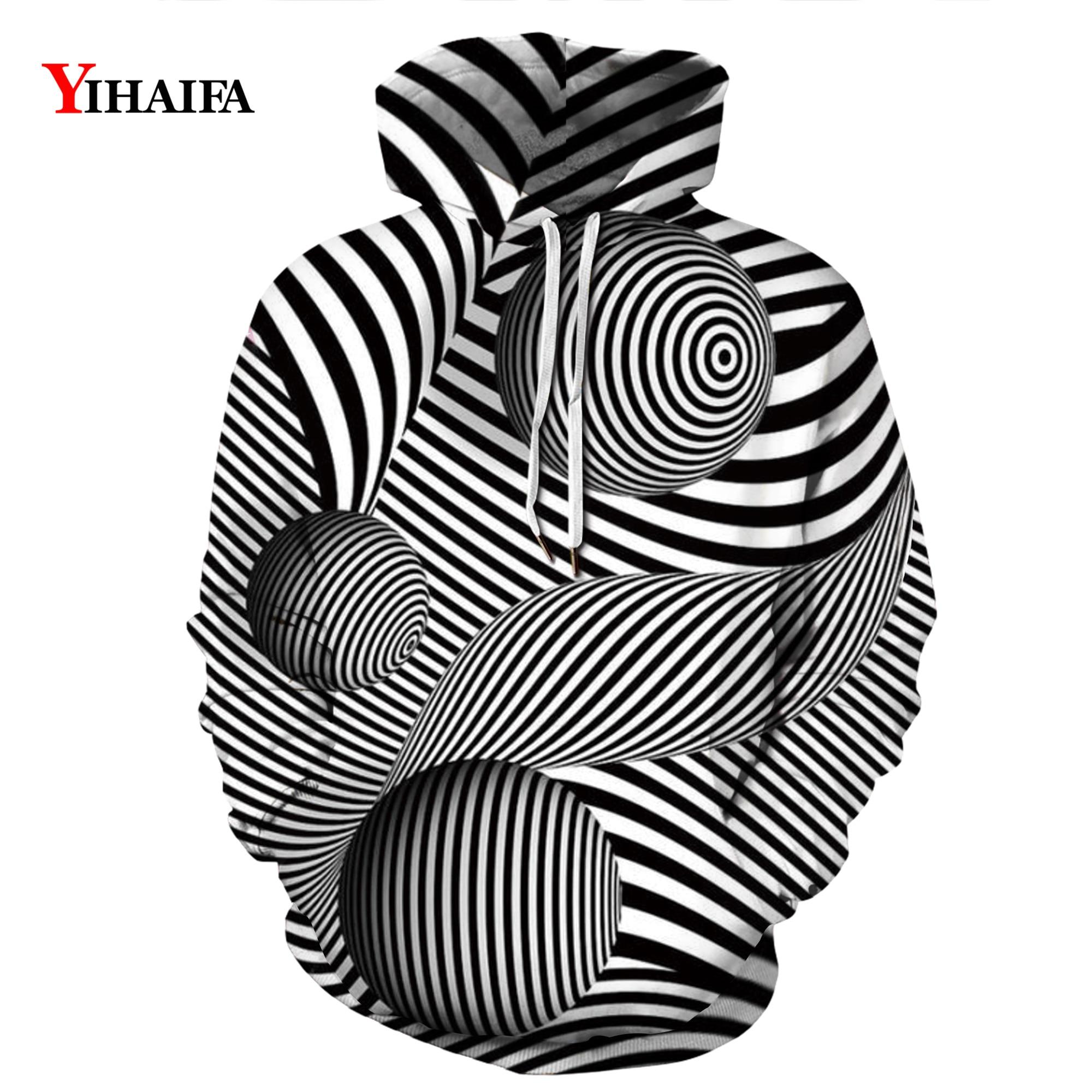 Mens Womens 3D Sweatshirt Black White Hypnotic Vortex Graphic Print Hip Hop Hoodies Streetwear Pullover Tracksuit Tops in Hoodies amp Sweatshirts from Men 39 s Clothing