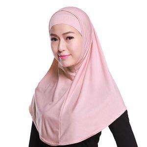 Image 3 - Женский однотонный мусульманский хиджаб Amira из 2 предметов, мягкий хлопковый эластичный головной шарф с внутренней трубкой, капюшон