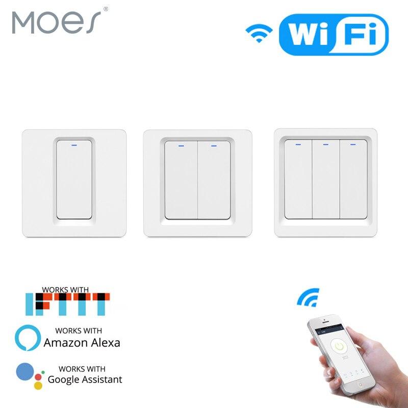 Smart WiFi mur Interrupteur De Lumière Pour Alexa /& Google 1//2 Gang sans neutre fil nécessaire
