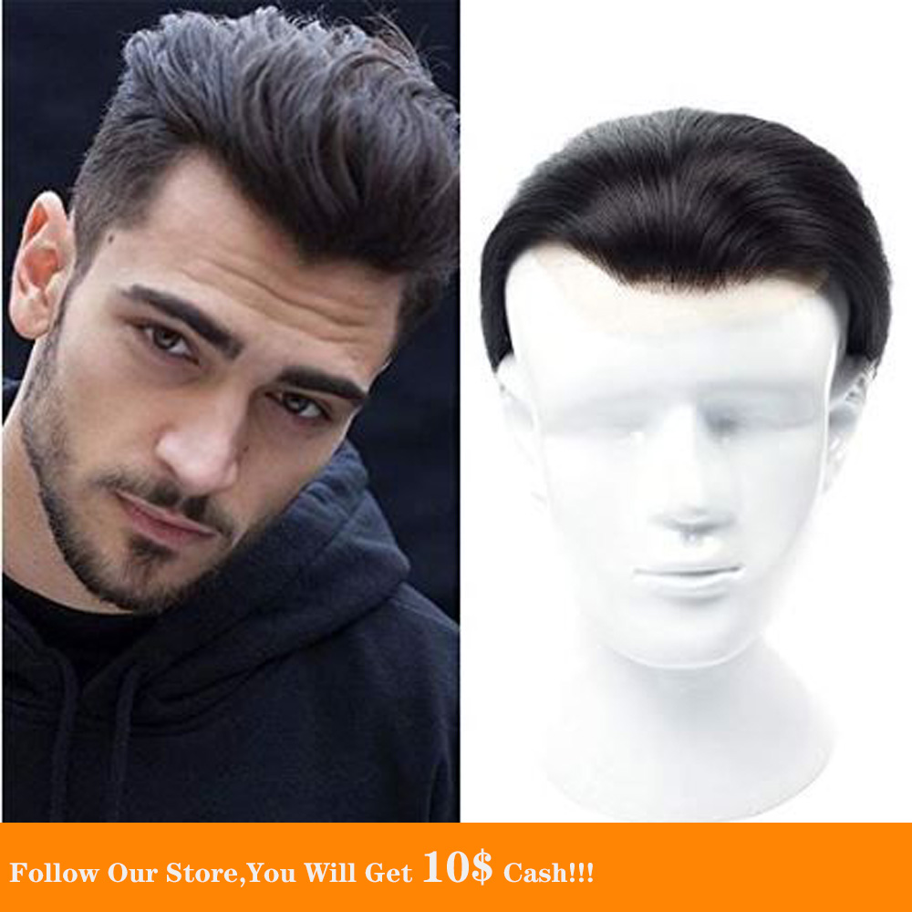 BYMC Lace & PU Thin Skin Men Toupee Two Colors Real Human Hair Pieces Natural Hairline Brazilian Hair Replacement System For Men
