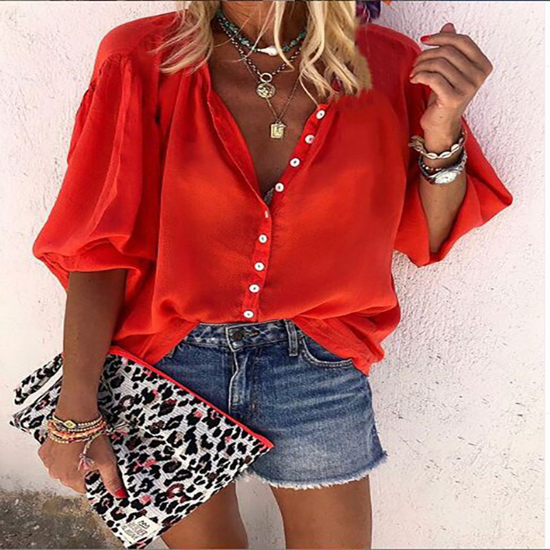2020 Explosion Models Autumn New Solid Color Long-sleeved V-neck Button Ladies Shirt Summer Crop Top  Women's Blouse Plus Size