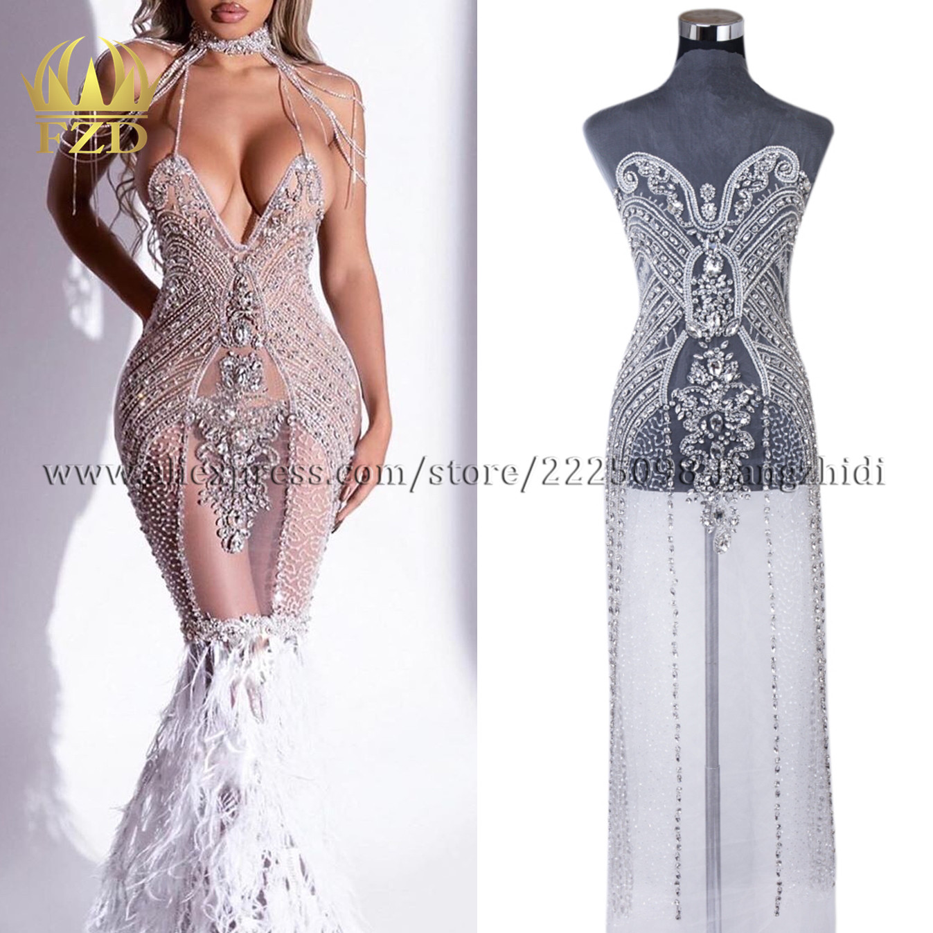 FZD 1 piece New arrival Elegant silver Handmade Bead  Apparel Fashion crystal rhinestone V-neck Design Wedding Dress