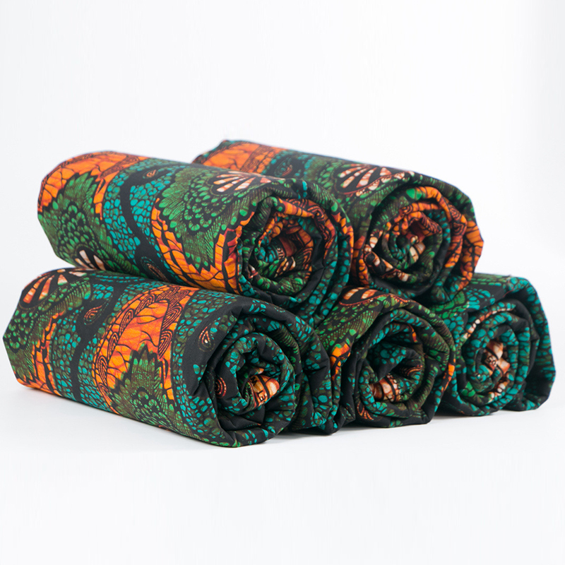 2020 New African Fabric Pure Cotton Green And Orange Print Fabric For Party Dress 6Yards\lot