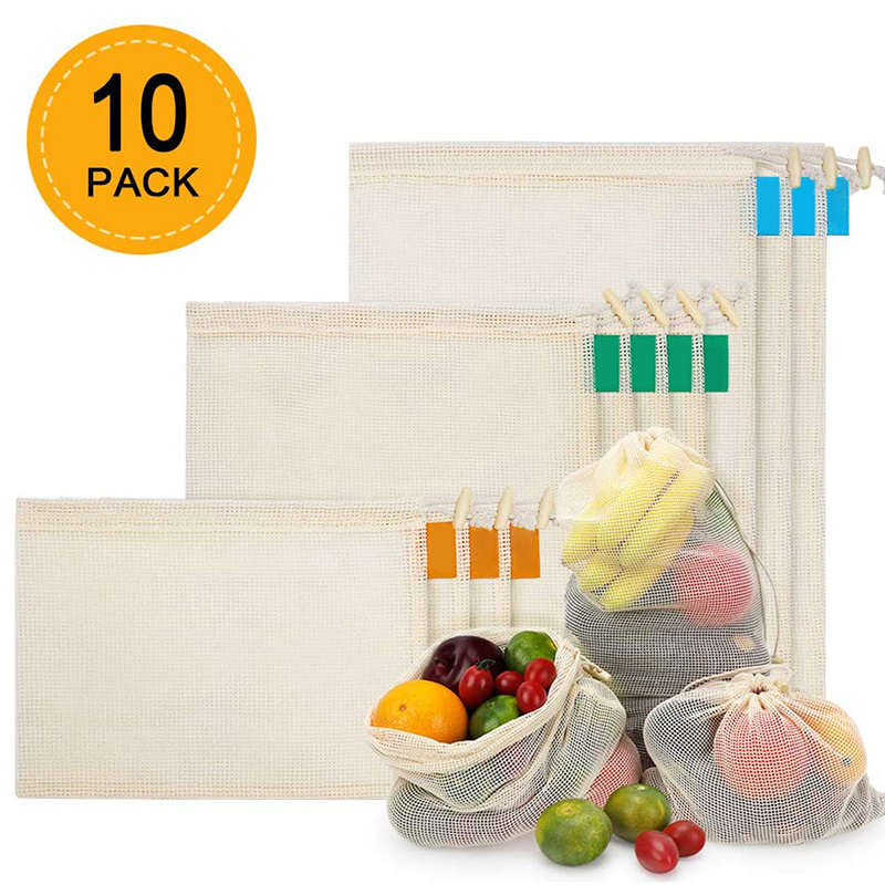 Reusable Produce Bags 10 PCS Organic Cotton Mesh Bags For Fruit  Vegetable Grocery Shopping  Zero Waste Stitched Mesh Bag