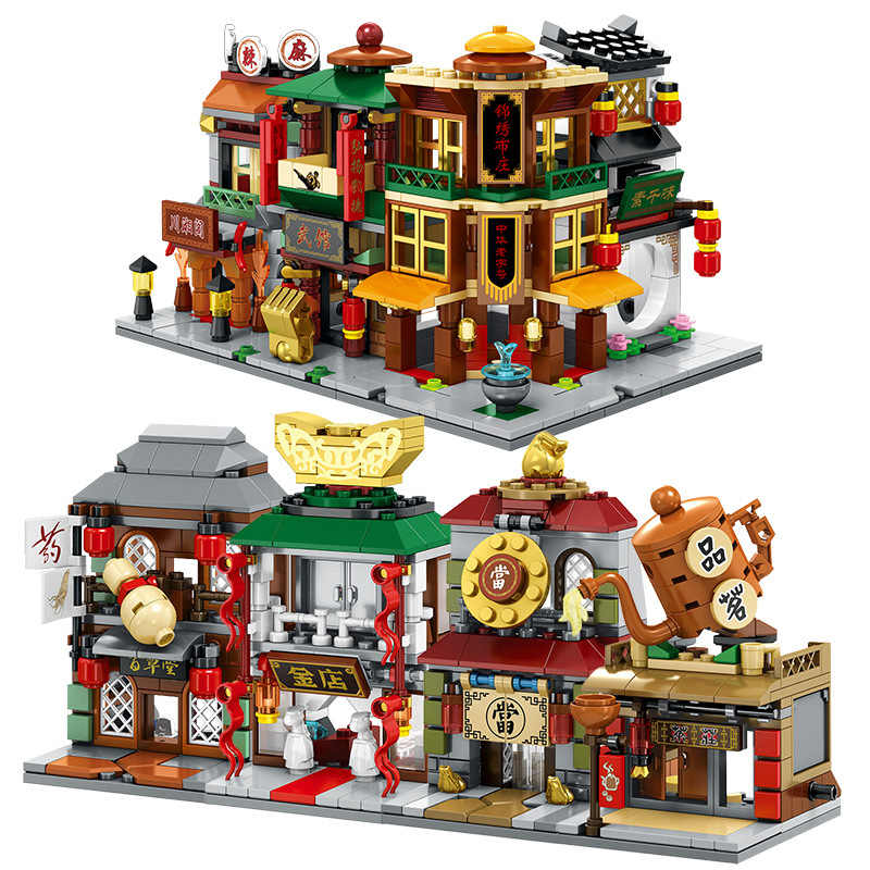 Lowest Price Chinatown Street DIY Model Building Blocks Kit Children Educational Toys Assemble Bricks Christmas Gifts legoings