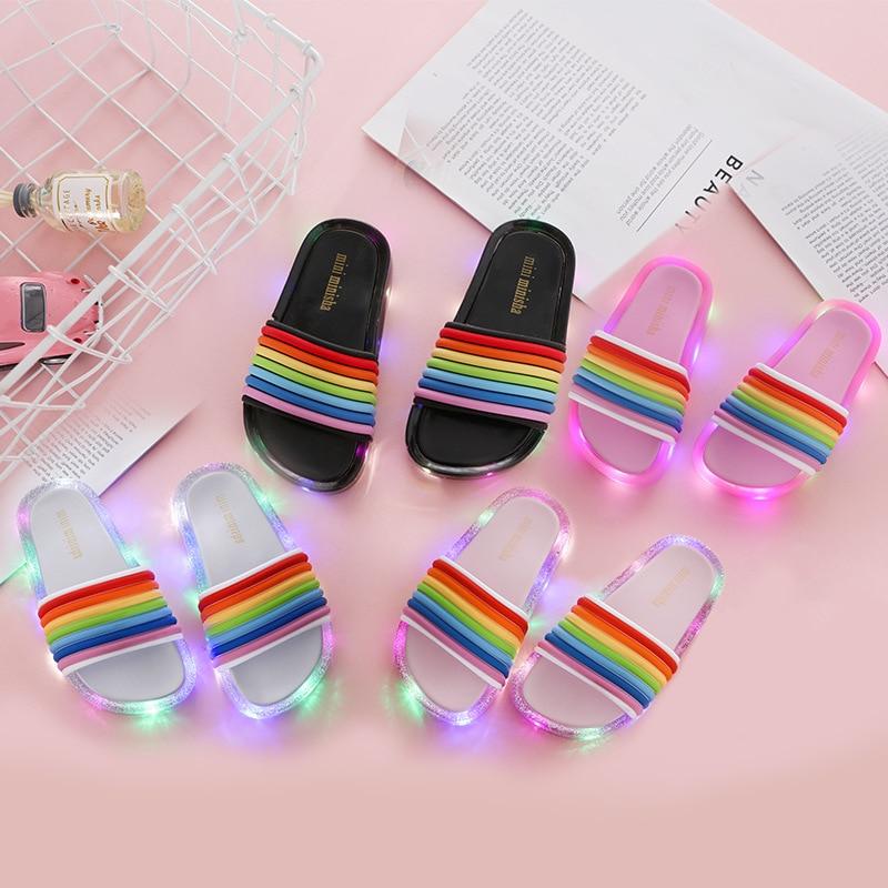 2020 Footwear Luminous Jelly Summer Children's LED Slipper Girls Slippers PVC Non-slip Rainbow Beach Sandals Kids Home Bathroom