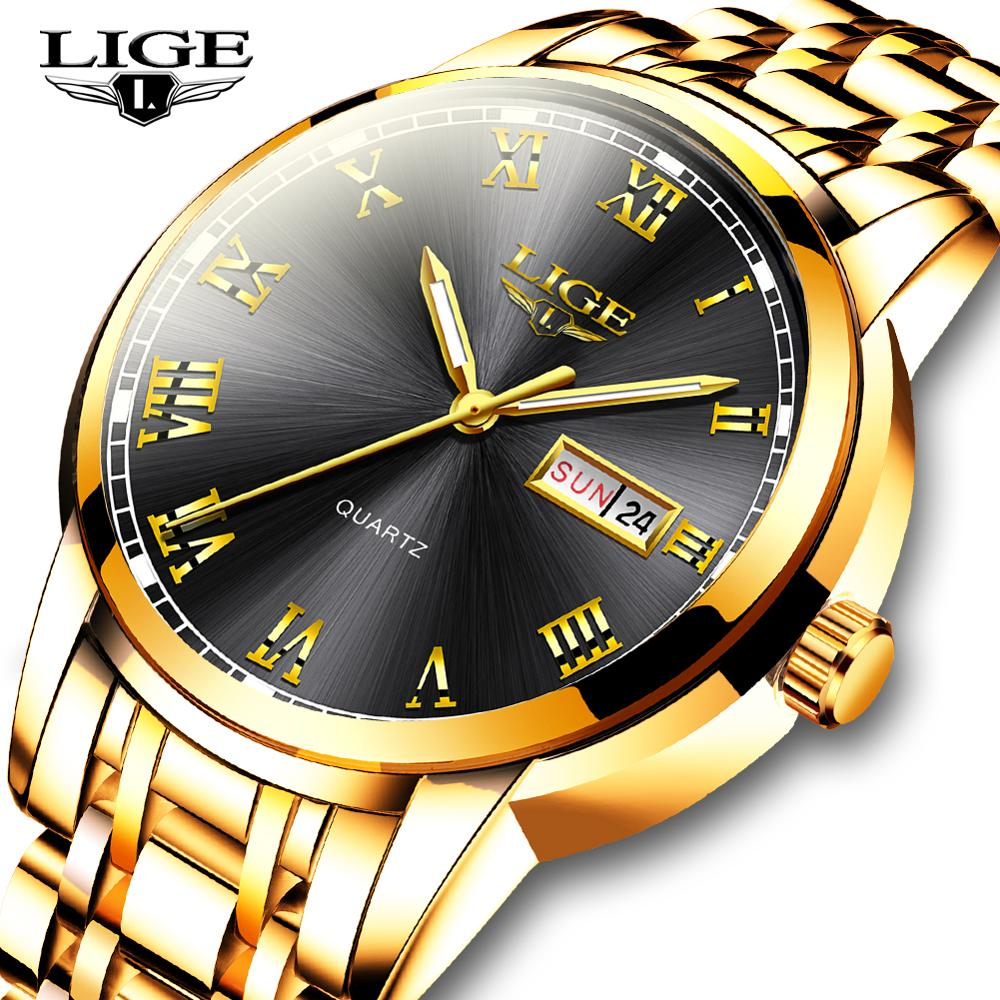LIGE Men Wrist Watch Fashion Sport Mens Watches Top Brand Luxury Waterproof Full Steel Quartz Gold Clock Man Relogio Masculino