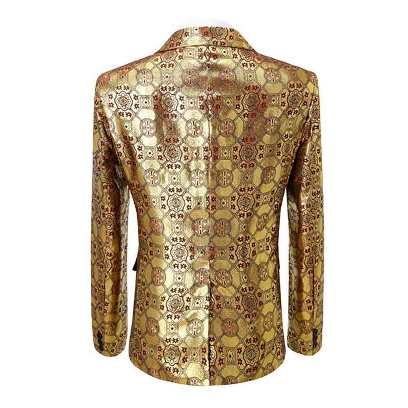 YUNCLOS Golden Red Party chaquetas Hombre Blazer Traje ajustado Hombre boda fiesta Hombre Traje chaqueta Traje Homme Hombre Blazer