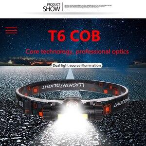 Image 3 - Mini phare LED puissant Portable XPE + COB USB Rechargeable phare intégré batterie étanche tête torche lampe frontale