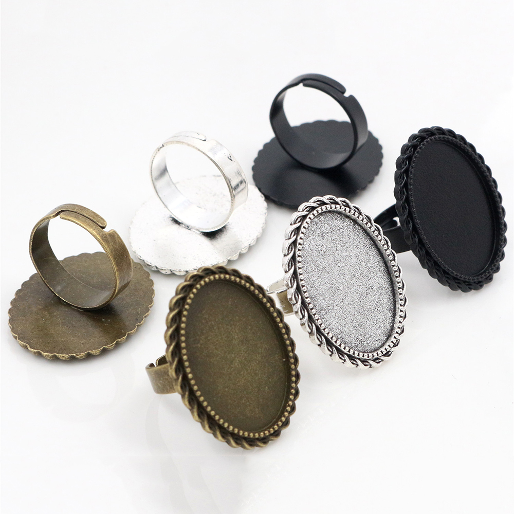18x25mm 5pcs Antique Silver Plated/ Bronze/Black Brass Oval Adjustable Ring Settings Blank/Base,Fit 18x25mm Glass Cabochons