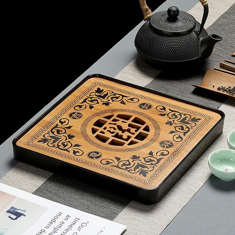 Imitation Ceramic Melamine 1pcs Bamboo Wood Tea Tray Drainage Water Storage Tea Set Room Board Table Chinese Tea Cup Cer