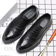 QPFJQD Man Genuine Split Leather Shoes Men Business Brock Retro Dress Feetwear Gentleman Formal Carved Bullock Oxfords Point Toe(China)