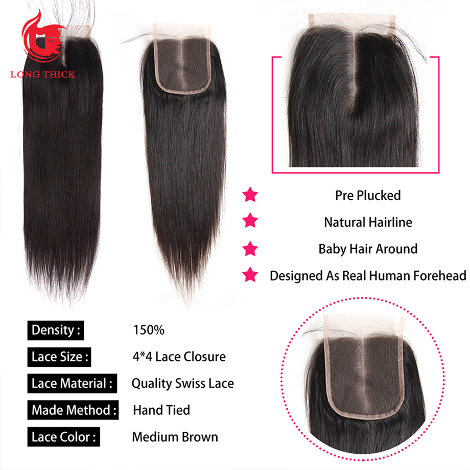 Bone Straight Hair 4x4 Swiss Lace Frontal Closure Pre Plucked  With Baby Hair   Products 4