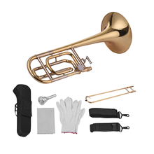 Muslady Intermedio Bb Tenore Piatto Slide Trombone con F Attaccamento Tra Cui Bocchino Carry Case Guanti di Panno di Pulizia