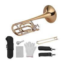 Muslady intermediário bb plana tenor corrediça trombone com f acessório incluindo bocal levar caso luvas pano de limpeza
