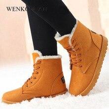 Kışlık botlar kadın sıcak peluş ayakkabı moda bayanlar yarım çizmeler platformu kar botları kadın kürk ayakkabı astarı Botines Mujer 2020
