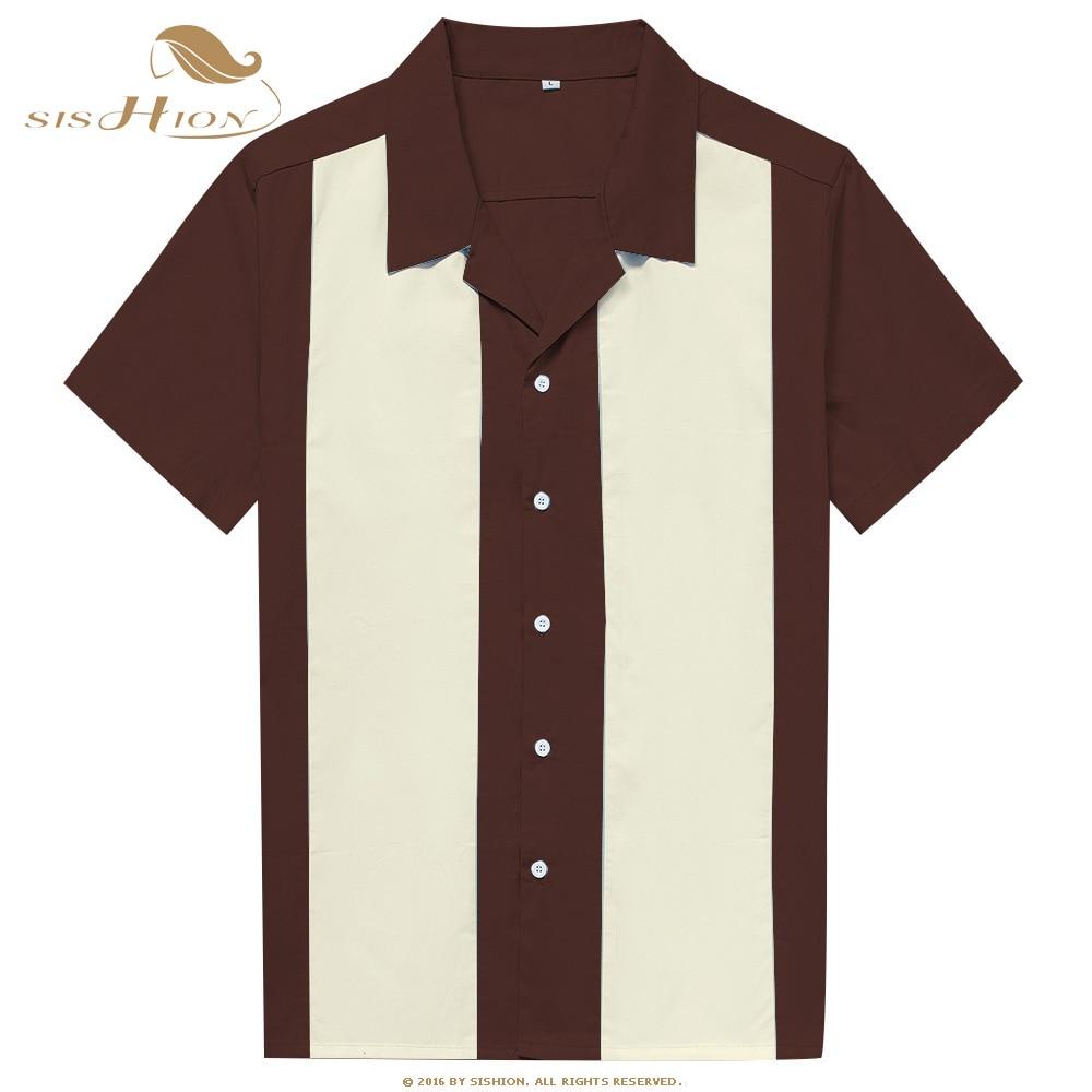 SISHION Short Sleeve Summer Men Shirts ST108 L-3XL Plus Size Mens Clothing Blouse Cotton Bowling Vintage Shirt