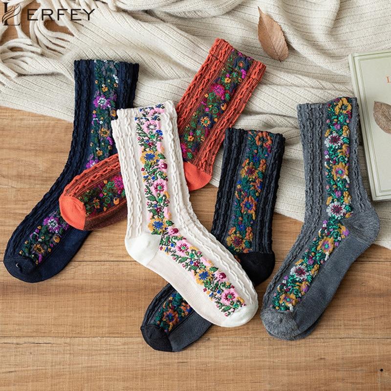 LERFEY Women Socks Cotton Euramerican National Harajuku Flowers Floral Sock Autumn Winter Ladies  Warm Cute Cotton Mujer Socks