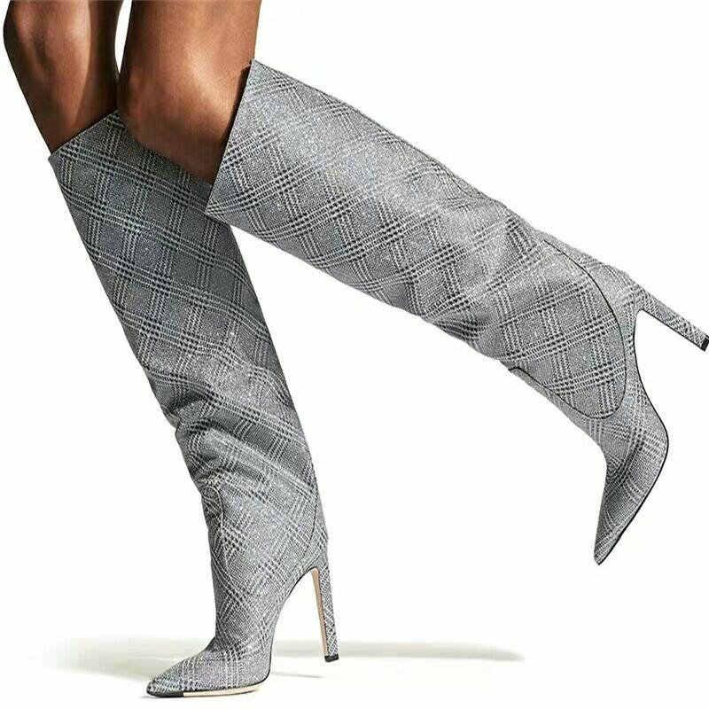 9CM High Heels Oberschenkel Hohe Stiefel Schuhe Frauen Winter Schnee Schuh Frau Schwarz Leder Die Knie Stiefel Lange Winter stiefel