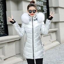 Women Winter Jackets Long Warm Coat Silver Color Style Female Jacket Wide Fur Collar 2019 Ladies