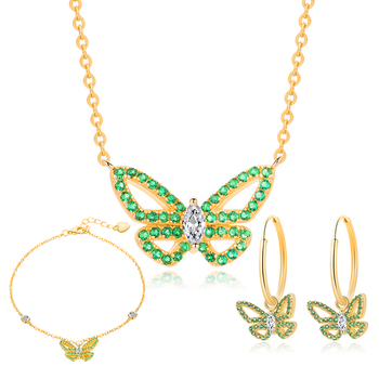 SA SILVERAGE 2020 Styles Three-piece Green Butterfly Design 925 Sterling Silver Sets Necklace Bracelet and Earrings