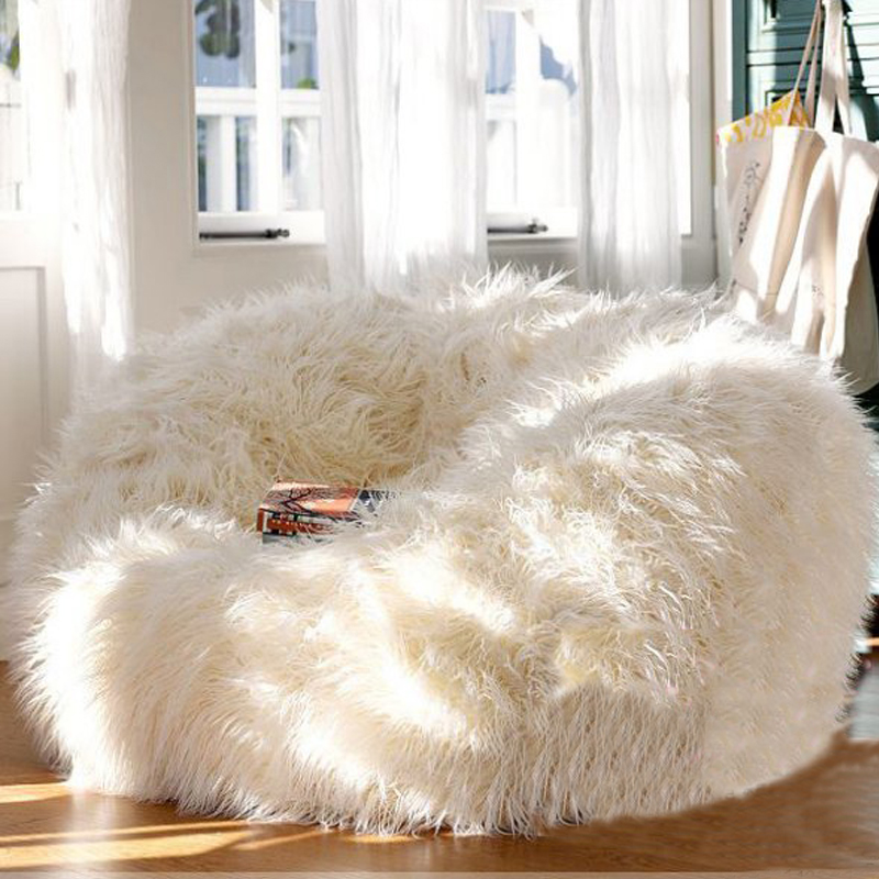 Soft Fluffy Wool Fur Bean Bag Cover,Without Filler,Sofa Lazy Couch Chair Kids Party Festival Baby Photography Show Props Stool