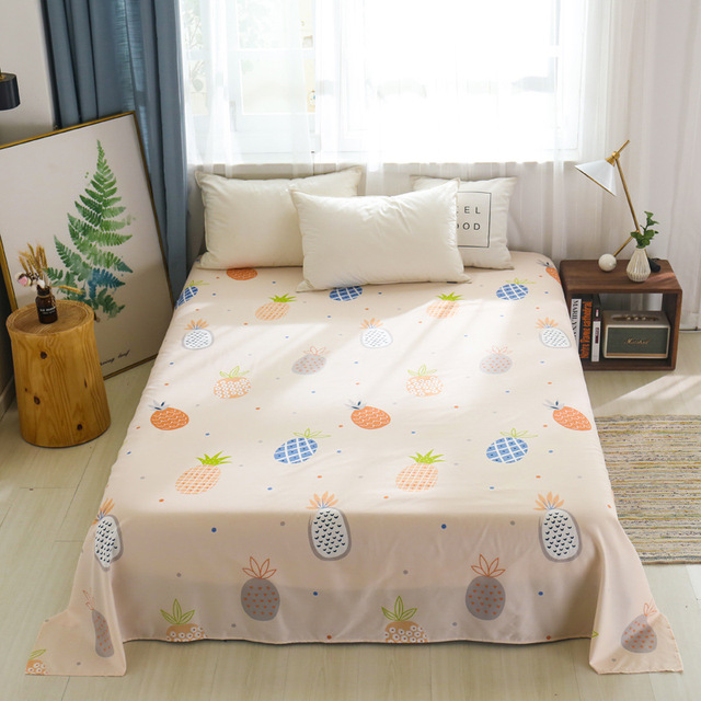 Floral Pattern Polyester/Cotton Flat Sheet Print Simple Style Bedsheets for Adults Single Double Bed (No Pillowcase) XF665-2