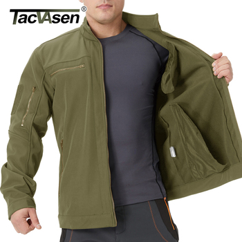 TACVASEN Stand up Collar Military Fleece Jackets Men's Tactical Soft shell Jackets Airsoft Coat Hunting Windbreaker Outwear Male 2