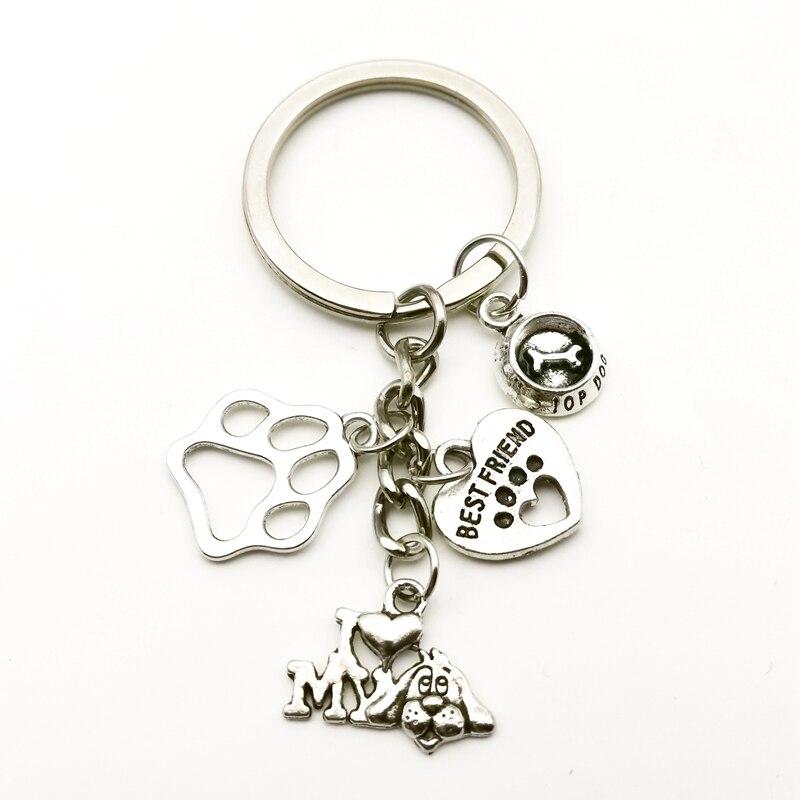 Creative Cute Animal Paw Print Keychain I Love Dog Silver Pendant Mini Heart Key Chain Car Key Man Girl Favorite Gift Souvenir